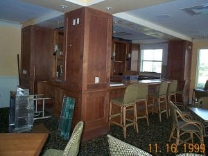 Clubhouse Wood Pilasters and Bar