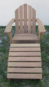 Custom Wood Adirondack Outdoor Patio Lounge Chair w/ Ottoman