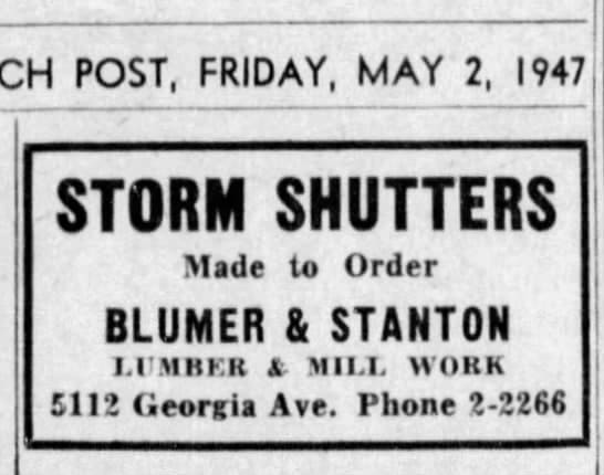 Early ad for storm shutters by Blumer & Stanton, May 2, 1947.